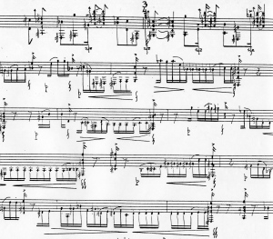 Part of an Alejandro Guarello music score