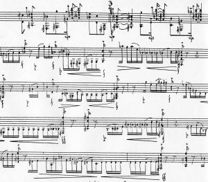 Part of an Alejandro Guarello music score