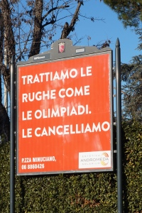 "Roman ad humour: ""We deal with wrinkles like the Olympics. We cancel them"""